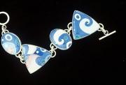 Blue and White Swirl Bracelet
